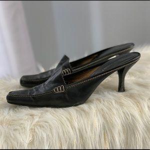 Nine West genuine leather black mules size 9.5M